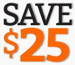 Save $25 at checkout.